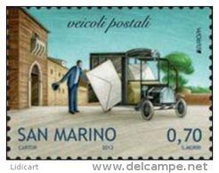 REPUBBLICA DI SAN MARINO - ANNO 2013 -  EUROPA VEICOLI POSTALI - NUOVI   ** MNH - Nuovi