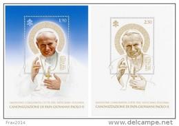 STATO CITTA' DEL VATICANO - VATIKAN - PAPA FRANCESCO - ANNO 2014  -BF CANONIZZAZIONE GIOVANNI PAOLO II -  NUOVI  MNH ** - Vaticano