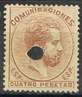Sello 4 Pts AMADEO, Perforado Telegrafico, Num 128T º - 1872-73 Reino: Amadeo I