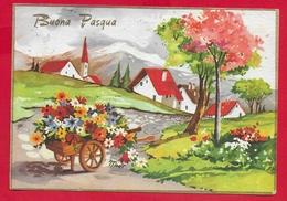 CARTOLINA VG ITALIA - BUONA PASQUA - Villaggio In Primavera - Carretto Fiorito - 10 X 15 - 1965 - Pasqua