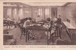 """Paquebot  """" ILE DE FRANCE  """" . Salon De Correspondance De 2° Classes - Paquebots"""