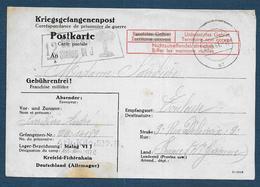 Carte D'un Prisonnier Au Stalag VI J Avec Cachet De Censeur Orné D'un Palmier - Poststempel (Briefe)