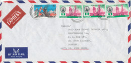 Nigeria Express Air Mail Cover Sent To Denmark 7-6-1990 Topic Stamps - Nigeria (1961-...)