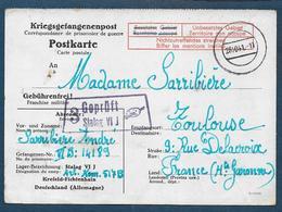 Carte D'un Prisonnier Au Stalag VI J Avec Cachet De Censeur Orné D'une Palette De Peintre - Poststempel (Briefe)