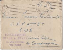EAC FM Agence Maritime Belge Au Havre OMEC Le Havre 1915 -> Armée Belge - Postmark Collection (Covers)