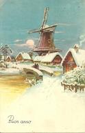 """Cartolina """"Buon Anno"""", Paesaggio Invernale Con Mulino A Vento (S05) - Anno Nuovo"""