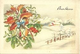 """Cartolina """"Buon Anno"""", Paesaggio Invernale E Rami Di Vischio (S11) - Anno Nuovo"""