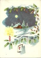 """Cartolina """"Buon Anno"""", Paesaggio Invernale Sotto La Luna (S12) - Anno Nuovo"""