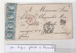 Lettre Avec Classiques De France:Cérès N°60 Bande De 4,Buenos Aires-Châlon S/Marne,Ligne Plata-Marseille Par Paq.Poitou - 1871-1875 Cérès