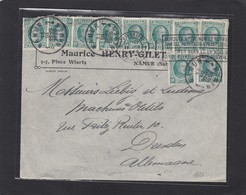 """LETTRE DE NAMUR AVEC 10 X 10 CENTIMES ROI ALBERT TYPE """"HOUYOUX"""" POUR DRESDEN,1926. - Belgique"""