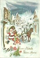 """Cartolina """"Buon Natale E Felice Anno"""", Paesaggio Invernale E Babbo Natale Che Porta I Regali (S18) - Anno Nuovo"""