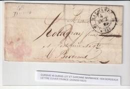 Lettre Avec Cursive 45 Duras (lot Et Garonne), Cachet Type12 Bordeaux + Taxe 3, 1838 - Storia Postale