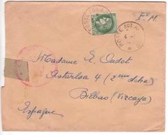 Lettre Franchise Militaire Poste Aux Armées > Espagne Affranchissement Gratuit Le Lendemain Pour L'étranger Cérès 1940 - Storia Postale