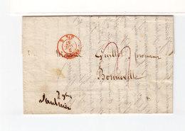 Sur LAC Pour Bonneville CAD Rouge Genéve 3 Nov. 1847. Cachet Linéaire Nove 4. (2476x) - Marcophilie