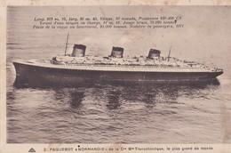 """Paquebot  """" NORMANDIE"""" De La C.G.T. Plus Grand Du Monde  (L. 313 M / Vitesse 30 N./ Puiss. 160.000 Cv / Passagers :1971) - Paquebots"""