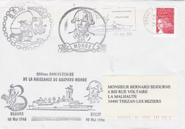 Admission Au Service Actif BEM MONGE 250 Ans De Gaspart Monge Brest 17/12/2002 2 Scan Enveloppe 1 - Postmark Collection (Covers)