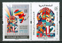 MOROCCO MAROC MOROKKO 2 TIMBRES JEUX AFRICAINS RABAT 2019 - Marruecos (1956-...)