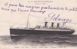 """Paquebot  """" PARIS  """" C.G. T. French Line ( L.235m / Tonnage 37.000 Tx / Puissance 45.000 HP) - Paquebots"""