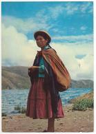 °°° 13743 - BOLIVIA  - LAGO TITICACA - INDIGENA NEL TIPICO COSTUME ANDINO - PUBBLICITA MICOFLAVINA °°° - Bolivia