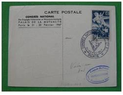 Carte Maximum Maxi Card Congrès National Des Engagés Volontaires Paris 1947 - 2. Weltkrieg