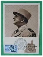 Carte Maximum Maxi Card Général De Lattre Salon De L'Armée 1954 Paris - 2. Weltkrieg