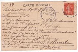 10c Semeuse  Oblitération Cachet POSTE MILITAIRE BELGE En France 1915 Carte De VALOGNES  > HOLLANDE - Storia Postale