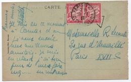 Carte Postale CARNAC Non Affranchie 1927 Taxe Rare Paire Du 40c Rose Banderole Duval PARIS XVII Distribution - Segnatasse