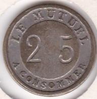 Jeton De Jeu De Comptoir De Bistrot Parisien. 25 Centimes à Consommer - Le Mutuel - Monetari / Di Necessità