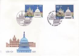 Svizzera 1991 - Palazzi Del Parlamento. Emissione Congiunta USA - FDC