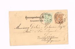 Entier Postal à 2 Kr.Expédié De Karlin à Liège (Belgique) - Postal Stationery