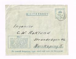 Militärbrev.Expédié à Norrköping. - Militaires