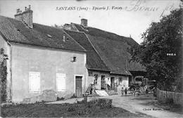 CPA De SANTANS (Jura) - Epicerie J. Vercey. Bistre. Edition Karrer. Circulée En 1927. Bon état. - France