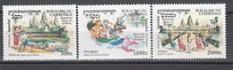 2001 Yvert Nº 1843 / 1845  MNH,  Cultura Khmer - Danzas - Cambodja