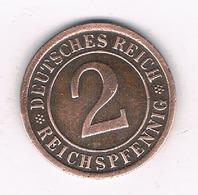 2 PFENNIG 1925 F DUITSLAND /6325/ - [ 3] 1918-1933 : Republique De Weimar