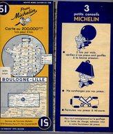 Carte Géographique MICHELIN - N° 051 BOULOGNE - LILLE - 1949 - Cartes Routières