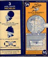 Carte Géographique MICHELIN - N° 054 CHERBOURG - ROUEN 1950 - Cartes Routières