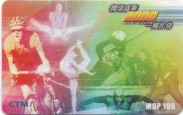 Macau - CTM - 2000 Go For The Gold, Atletics, Sports, Prepaid 100MP, Exp.31.12.2001, Used - Macau