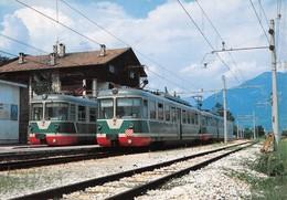 """09483 """"FERROVIA TRENTO /MALE'  - STAZIONE DI CLES - INCROCIO DI CONVOGLI - 1986""""   CART NON SPED - Stazioni Con Treni"""