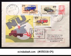 ROMANIA - 2005 REGISTERED ENVELOPE WITH CLASSIC CAR STAMPS USED - Cars