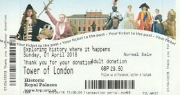 TICKET - TOWER OF LONDON - 2018 - Tickets - Entradas