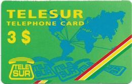 Suriname - Telesur - World Map, Prepaid 3$, Mint - Surinam