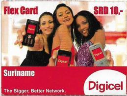 Suriname - Digicel - Flex Card - Three Girls With Mobiles, Prepaid 10$, Exp. 31.03.2010, Used - Suriname
