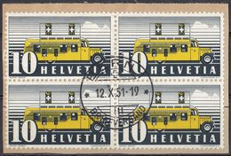 HELVETIA - SUISSE - SVIZZERA - 1946 - Quartina Usata Di Yvert 432 Su Frammento Di Busta. - Usati