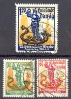 Danzig Sc# B1-B3 Used 1921 St. George & Dragon - Danzig