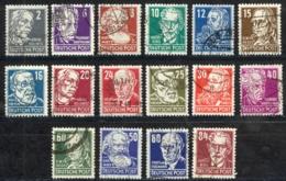 German Democratic Republic Sc# 10N29-10N44 Used 1948 Famous People - Used Stamps