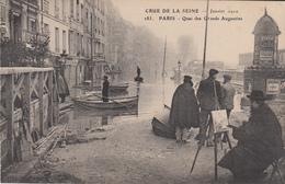 CRUE De La SEINE 1910  - PARIS - Quai Des Grands Augustins - Inondations De 1910