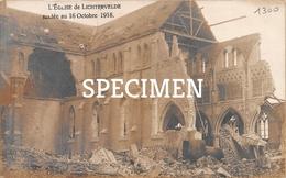 Carte Photo - L'Eglise De Lichtervelde Sautée 1918 - Lichtervelde