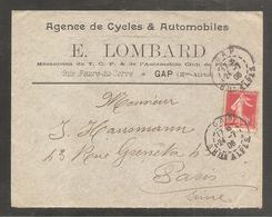 """Enveloppe """"cycles Et Automobiles """"  GAP   Hautes Alpes / 10c Semeuse Sur Sol   Juillet 1906 - Non Classificati"""
