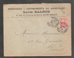 """Enveloppe """" Instrument De Chirurgie""""  SAINT BRIEUC   Cotes Du Nord  / 10 C Semeuse  1906 - Non Classificati"""