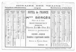 MONTMORENCY HOTEL DE FRANCE - HORAIRE DES TRAINS MAISON BERGES PLACE DE LA GARE APPARTEMENTS MEUBLES - CPA VAL D OISE- - Montmorency
